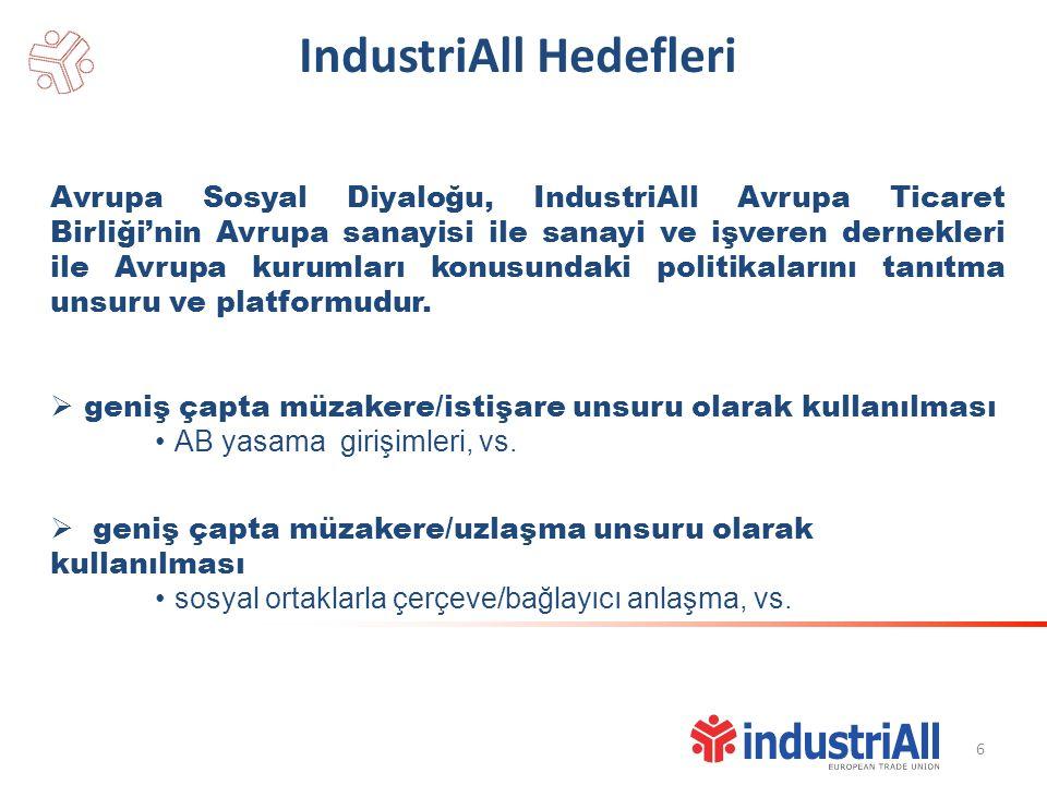 IndustriAll Hedefleri Avrupa Sosyal Diyaloğu, IndustriAll Avrupa Ticaret Birliği'nin Avrupa sanayisi ile sanayi ve işveren dernekleri ile Avrupa kurumları konusundaki politikalarını tanıtma unsuru ve platformudur.