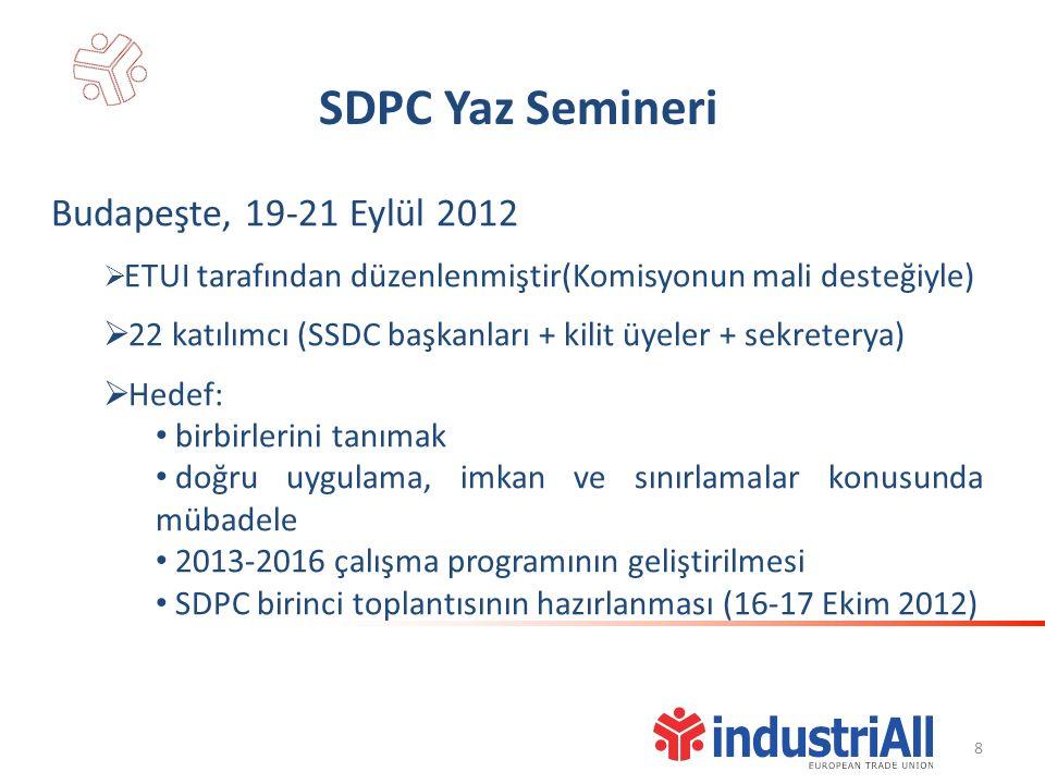 SDPC Yaz Semineri Budapeşte, 19-21 Eylül 2012  ETUI tarafından düzenlenmiştir(Komisyonun mali desteğiyle)  22 katılımcı (SSDC başkanları + kilit üyeler + sekreterya)  Hedef: birbirlerini tanımak doğru uygulama, imkan ve sınırlamalar konusunda mübadele 2013-2016 çalışma programının geliştirilmesi SDPC birinci toplantısının hazırlanması (16-17 Ekim 2012) 8