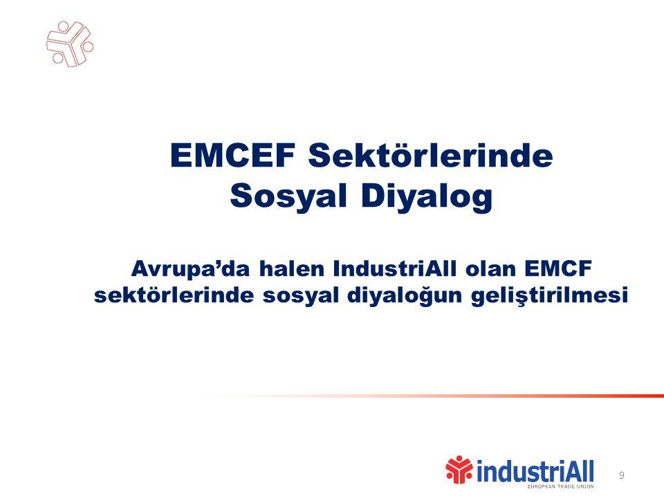 9 EMCEF Sektörlerinde Sosyal Diyalog Avrupa'da halen IndustriAll olan EMCF sektörlerinde sosyal diyaloğun geliştirilmesi