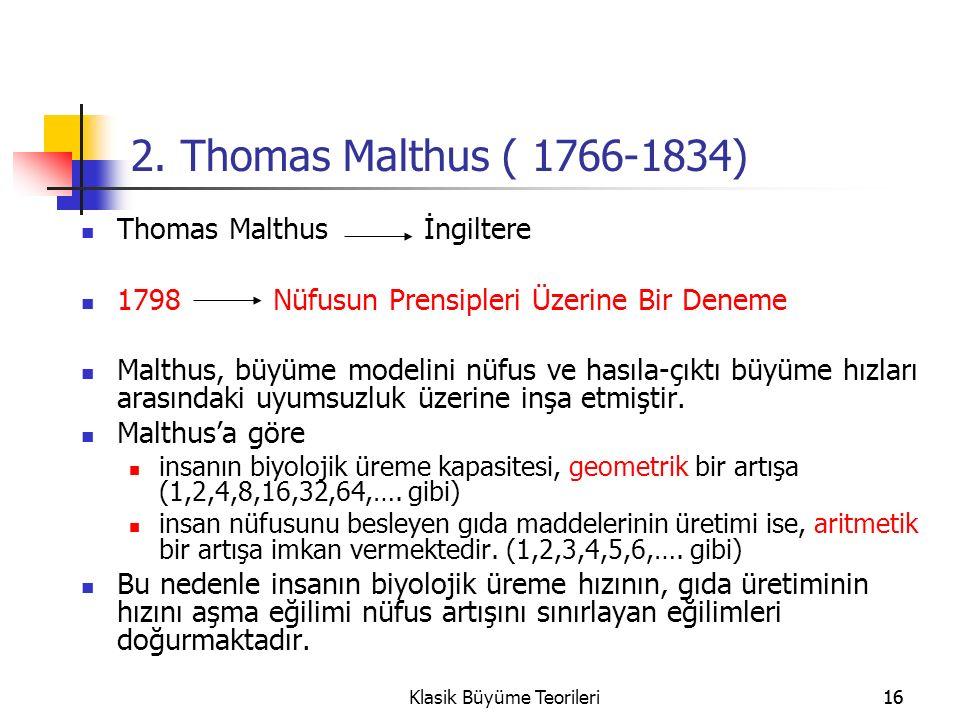 16Klasik Büyüme Teorileri16 2.