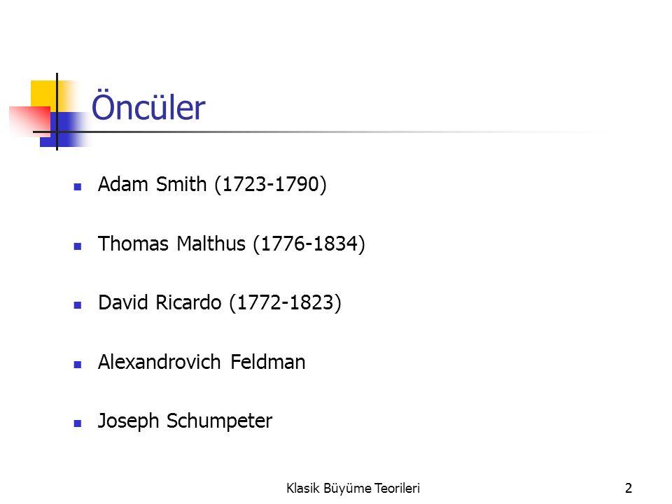 2Klasik Büyüme Teorileri2 Öncüler Adam Smith (1723-1790) Thomas Malthus (1776-1834) David Ricardo (1772-1823) Alexandrovich Feldman Joseph Schumpeter