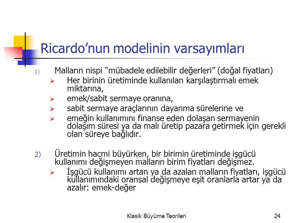 24 Ricardo'nun modelinin varsayımları 1) Malların nispi mübadele edilebilir değerleri (doğal fiyatları)  Her birinin üretiminde kullanılan karşılaştırmalı emek miktarına,  emek/sabit sermaye oranına,  sabit sermaye araçlarının dayanma sürelerine ve  emeğin kullanımını finanse eden dolaşan sermayenin dolaşım süresi ya da malı üretip pazara getirmek için gerekli olan süreye bağlıdır.