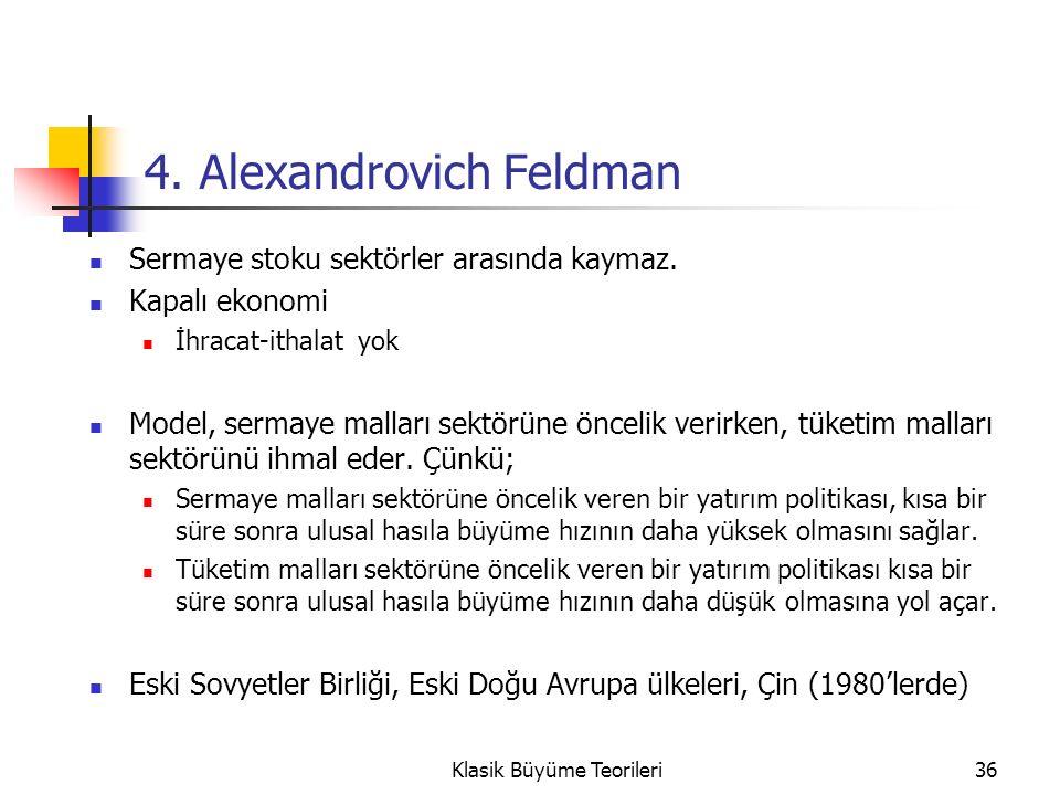 36 4. Alexandrovich Feldman Sermaye stoku sektörler arasında kaymaz.