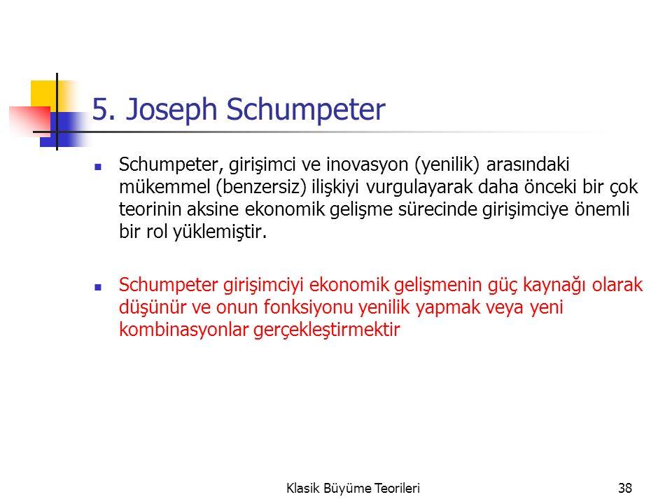 5. Joseph Schumpeter Schumpeter, girişimci ve inovasyon (yenilik) arasındaki mükemmel (benzersiz) ilişkiyi vurgulayarak daha önceki bir çok teorinin a