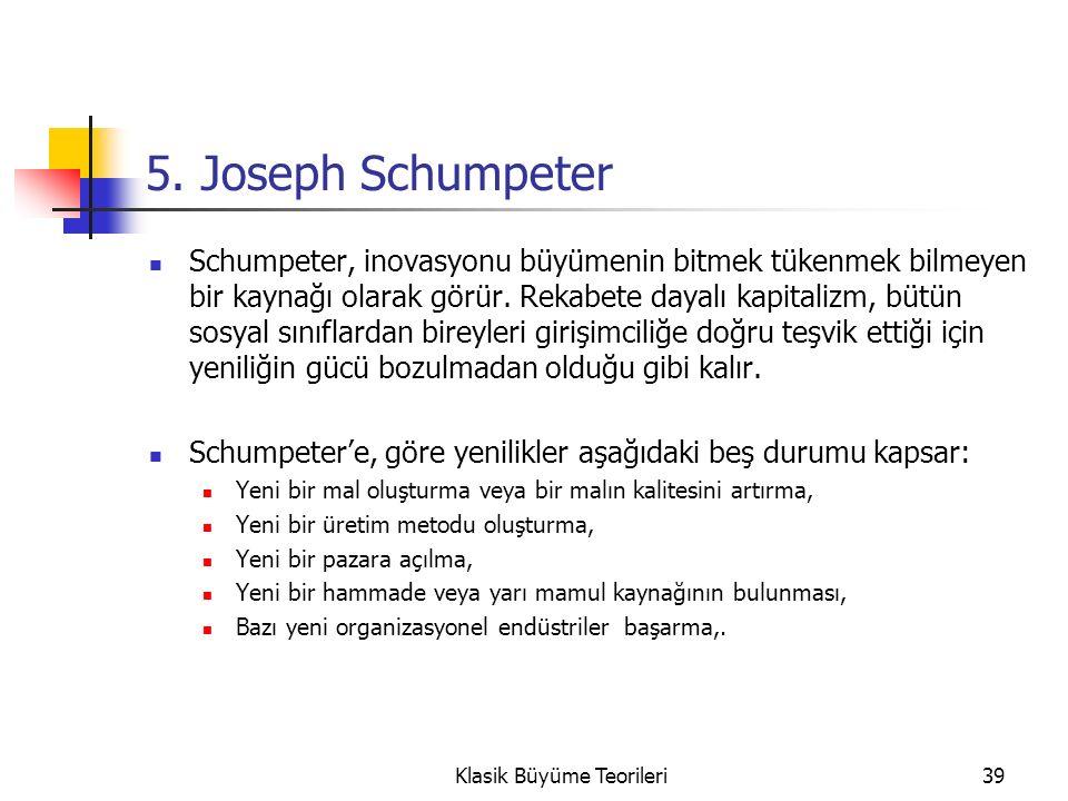 5. Joseph Schumpeter Schumpeter, inovasyonu büyümenin bitmek tükenmek bilmeyen bir kaynağı olarak görür. Rekabete dayalı kapitalizm, bütün sosyal sını