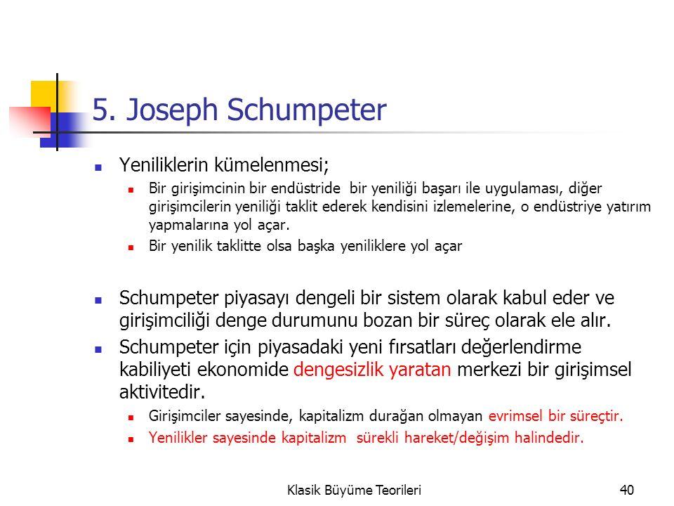 5. Joseph Schumpeter Yeniliklerin kümelenmesi; Bir girişimcinin bir endüstride bir yeniliği başarı ile uygulaması, diğer girişimcilerin yeniliği takli