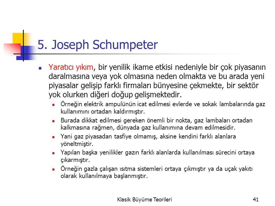 5. Joseph Schumpeter Yaratıcı yıkım, bir yenilik ikame etkisi nedeniyle bir çok piyasanın daralmasına veya yok olmasına neden olmakta ve bu arada yeni