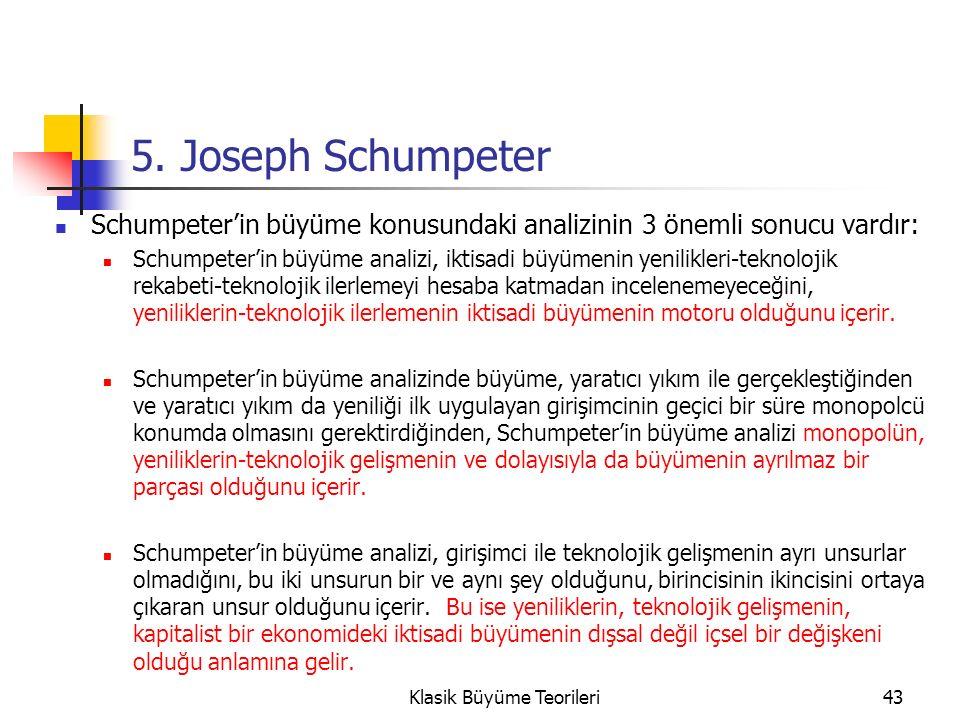 5. Joseph Schumpeter Schumpeter'in büyüme konusundaki analizinin 3 önemli sonucu vardır: Schumpeter'in büyüme analizi, iktisadi büyümenin yenilikleri-