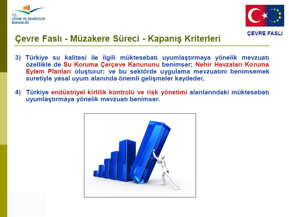ÇEVRE FASLI Çevre Faslı - Müzakere Süreci - Kapanış Kriterleri 3) Türkiye su kalitesi ile ilgili müktesebatı uyumlaştırmaya yönelik mevzuatı özellikle