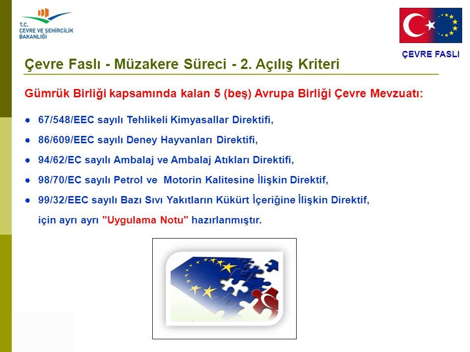 ÇEVRE FASLI Çevre Faslı - Müzakere Süreci - 2. Açılış Kriteri Gümrük Birliği kapsamında kalan 5 (beş) Avrupa Birliği Çevre Mevzuatı: ● 67/548/EEC sayı
