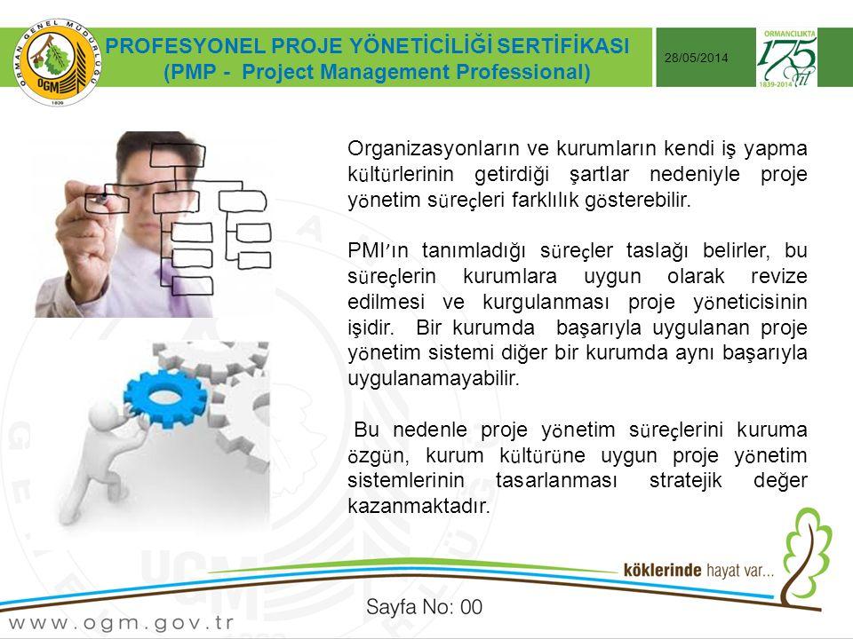Tarih:…./ …./ 20… ÖRNEK SUNUM KONUSU Sayfa No: AA 28/05/2014 PROFESYONEL PROJE YÖNETİCİLİĞİ SERTİFİKASI (PMP - Project Management Professional) Organizasyonların ve kurumların kendi iş yapma k ü lt ü rlerinin getirdiği şartlar nedeniyle proje y ö netim s ü re ç leri farklılık g ö sterebilir.