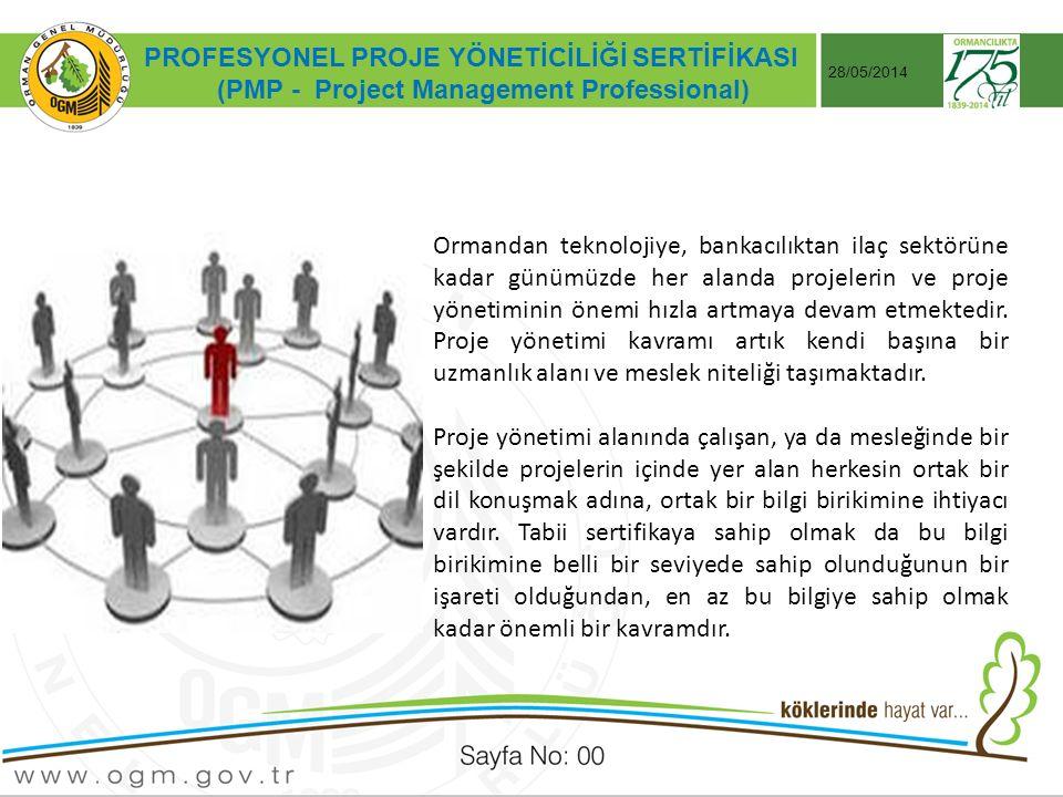 Tarih:…./ …./ 20… ÖRNEK SUNUM KONUSU Sayfa No: AA PROFESYONEL PROJE YÖNETİCİLİĞİ SERTİFİKASI (PMP - Project Management Professional) 28/05/2014 Ormandan teknolojiye, bankacılıktan ilaç sektörüne kadar günümüzde her alanda projelerin ve proje yönetiminin önemi hızla artmaya devam etmektedir.