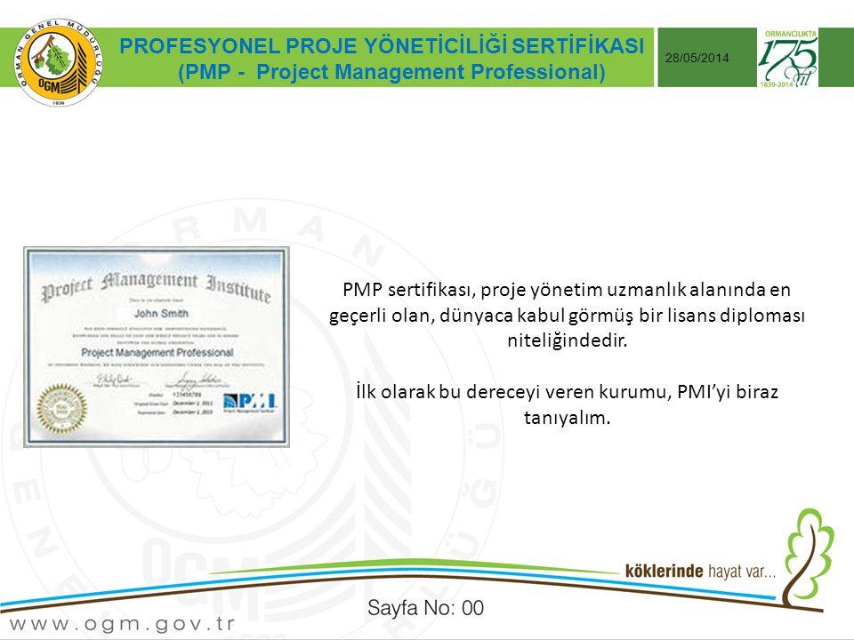 Tarih:…./ …./ 20… ÖRNEK SUNUM KONUSU Sayfa No: AA 28/05/2014 PMP sertifikası, proje yönetim uzmanlık alanında en geçerli olan, dünyaca kabul görmüş bir lisans diploması niteliğindedir.