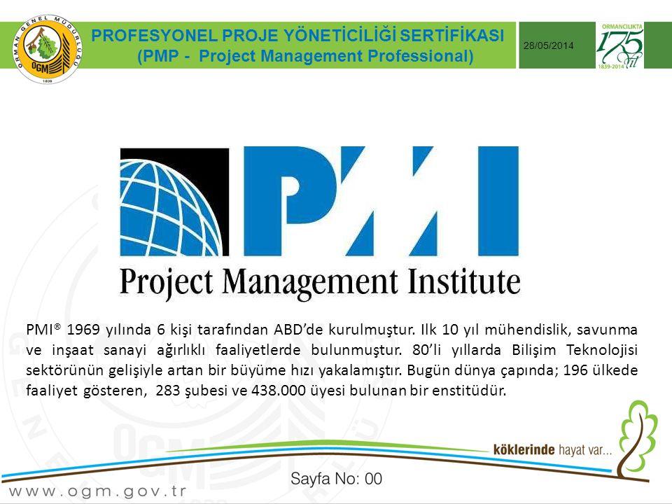 Tarih:…./ …./ 20… ÖRNEK SUNUM KONUSU Sayfa No: AA 28/05/2014 PROFESYONEL PROJE YÖNETİCİLİĞİ SERTİFİKASI (PMP - Project Management Professional) PMI® 1969 yılında 6 kişi tarafından ABD'de kurulmuştur.
