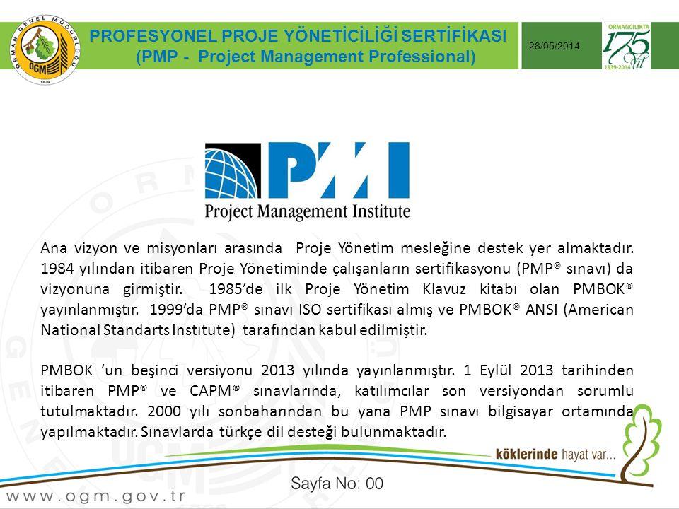 Tarih:…./ …./ 20… ÖRNEK SUNUM KONUSU Sayfa No: AA 28/05/2014 PROFESYONEL PROJE YÖNETİCİLİĞİ SERTİFİKASI (PMP - Project Management Professional) Ana vizyon ve misyonları arasında Proje Yönetim mesleğine destek yer almaktadır.
