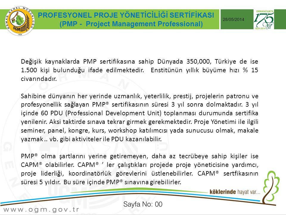Tarih:…./ …./ 20… ÖRNEK SUNUM KONUSU Sayfa No: AA 28/05/2014 PROFESYONEL PROJE YÖNETİCİLİĞİ SERTİFİKASI (PMP - Project Management Professional) Değişik kaynaklarda PMP sertifikasına sahip Dünyada 350,000, Türkiye de ise 1.500 kişi bulunduğu ifade edilmektedir.
