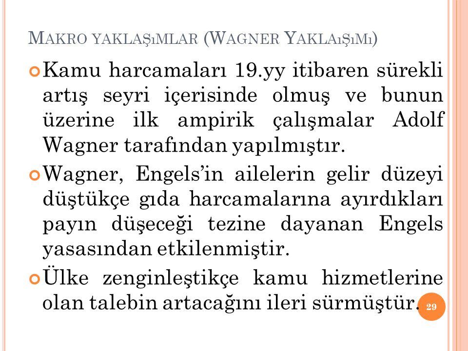 M AKRO YAKLAŞıMLAR (W AGNER Y AKLAıŞıMı ) Kamu harcamaları 19.yy itibaren sürekli artış seyri içerisinde olmuş ve bunun üzerine ilk ampirik çalışmalar Adolf Wagner tarafından yapılmıştır.