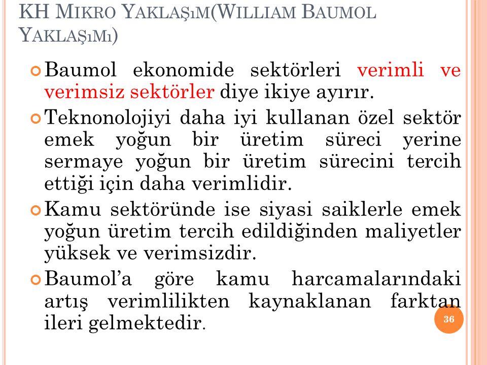 KH M IKRO Y AKLAŞıM (W ILLIAM B AUMOL Y AKLAŞıMı ) Baumol ekonomide sektörleri verimli ve verimsiz sektörler diye ikiye ayırır. Teknonolojiyi daha iyi