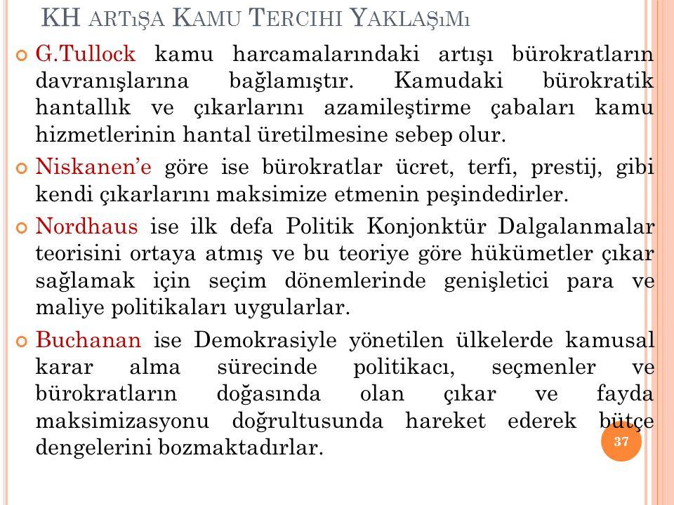 KH ARTıŞA K AMU T ERCIHI Y AKLAŞıMı G.Tullock kamu harcamalarındaki artışı bürokratların davranışlarına bağlamıştır.