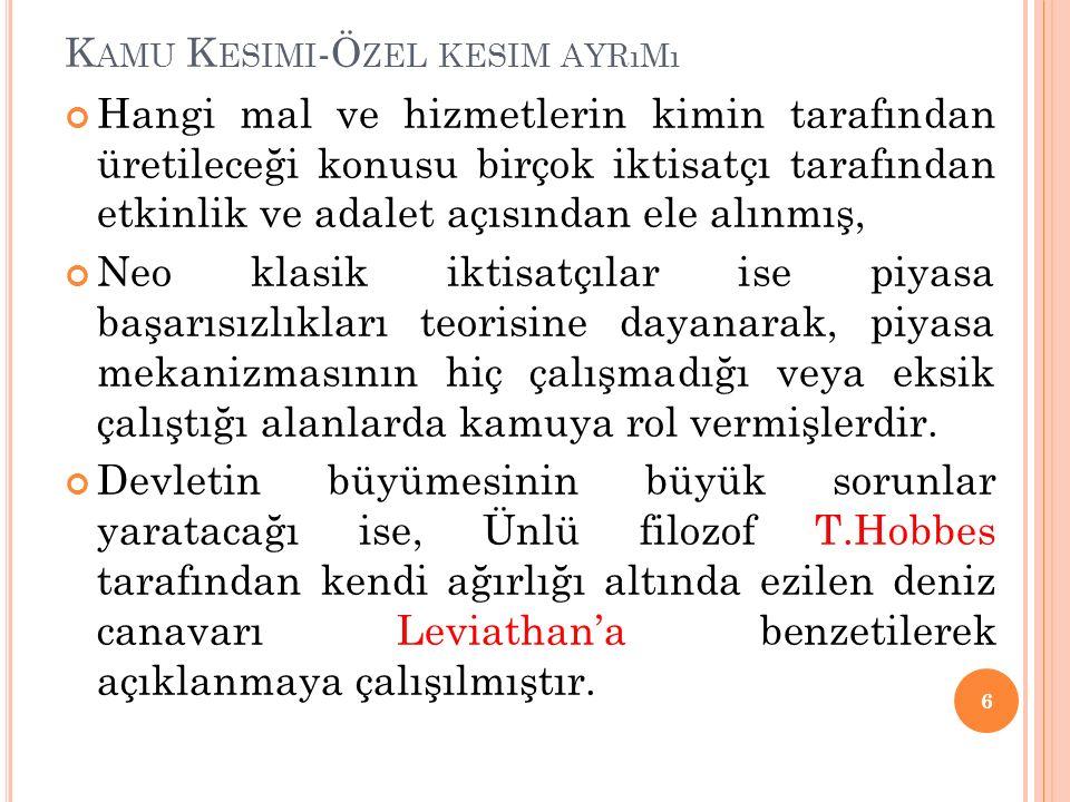K AMU K ESIMININ B ILEŞIMI Kamu kesimi adına merkezi, yerel ve kamu işletmeleri tarafından hizmet sunulmaktadır.
