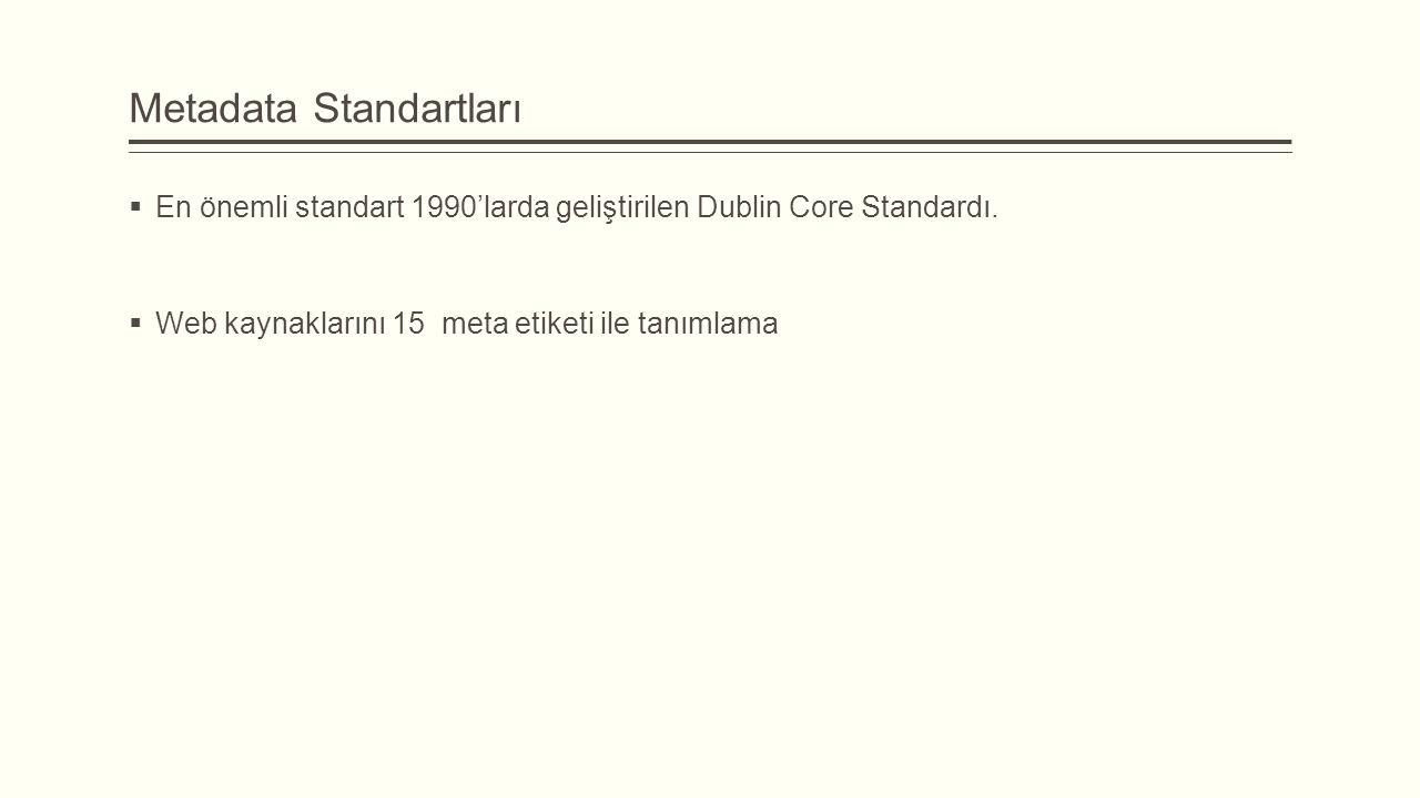 Metadata Standartları  En önemli standart 1990'larda geliştirilen Dublin Core Standardı.
