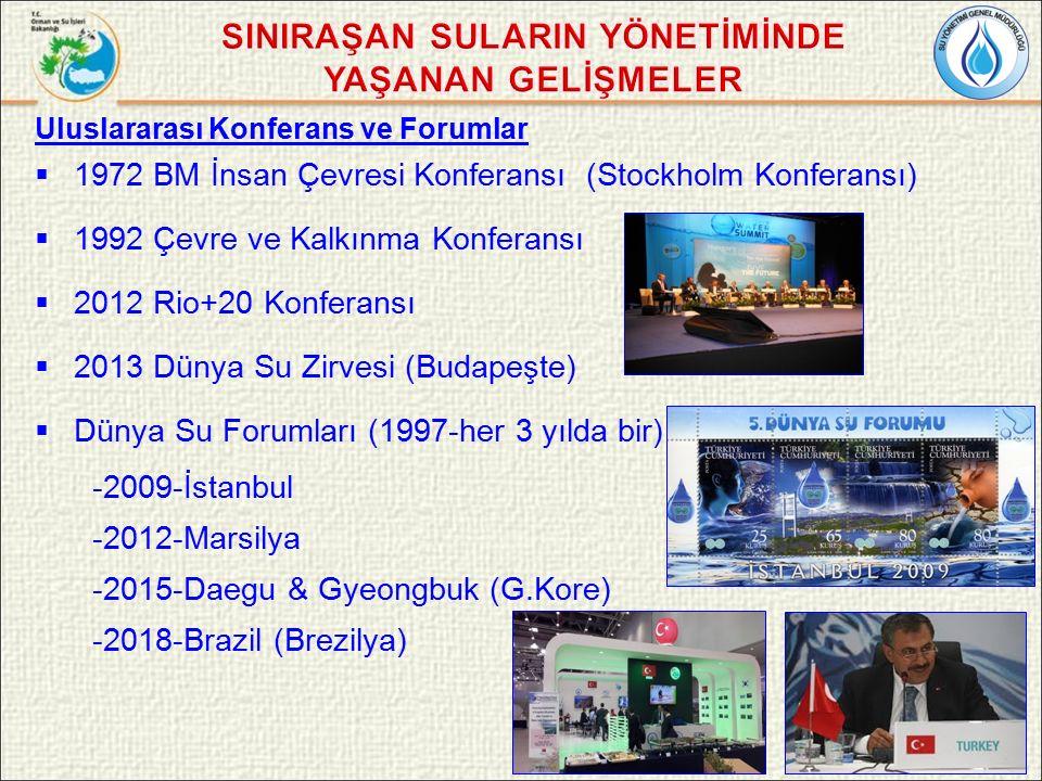 Uluslararası Konferans ve Forumlar  1972 BM İnsan Çevresi Konferansı (Stockholm Konferansı)  1992 Çevre ve Kalkınma Konferansı  2012 Rio+20 Konferansı  2013 Dünya Su Zirvesi (Budapeşte)  Dünya Su Forumları (1997-her 3 yılda bir) -2009-İstanbul -2012-Marsilya -2015-Daegu & Gyeongbuk (G.Kore) -2018-Brazil (Brezilya)