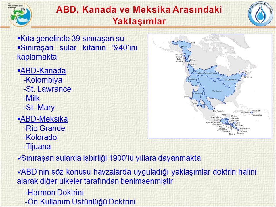  Kıta genelinde 39 sınıraşan su  Sınıraşan sular kıtanın %40'ını kaplamakta  ABD-Kanada -Kolombiya -St.