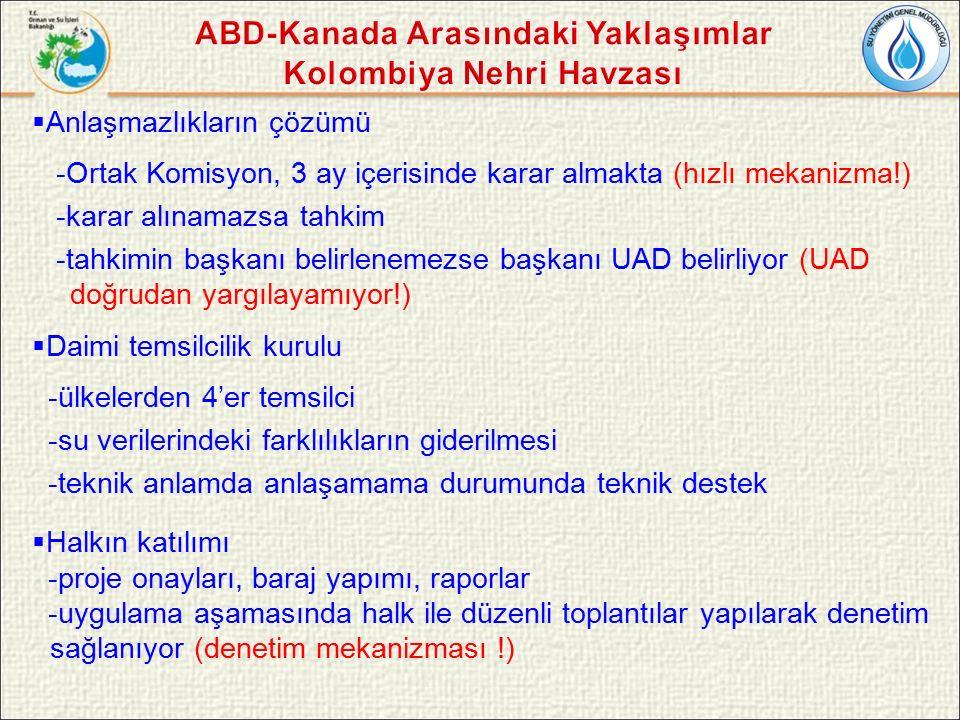  Anlaşmazlıkların çözümü -Ortak Komisyon, 3 ay içerisinde karar almakta (hızlı mekanizma!) -karar alınamazsa tahkim -tahkimin başkanı belirlenemezse başkanı UAD belirliyor (UAD doğrudan yargılayamıyor!)  Daimi temsilcilik kurulu -ülkelerden 4'er temsilci -su verilerindeki farklılıkların giderilmesi -teknik anlamda anlaşamama durumunda teknik destek  Halkın katılımı -proje onayları, baraj yapımı, raporlar -uygulama aşamasında halk ile düzenli toplantılar yapılarak denetim sağlanıyor (denetim mekanizması !)
