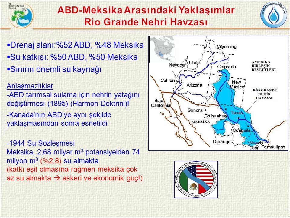  Drenaj alanı:%52 ABD, %48 Meksika  Su katkısı: %50 ABD, %50 Meksika  Sınırın önemli su kaynağı Anlaşmazlıklar -ABD tarımsal sulama için nehrin yatağını değiştirmesi (1895) (Harmon Doktrini).