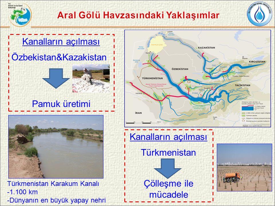 Kanalların açılması Özbekistan&Kazakistan Pamuk üretimi Türkmenistan Karakum Kanalı -1.100 km -Dünyanın en büyük yapay nehri Kanalların açılması Türkmenistan Çölleşme ile mücadele