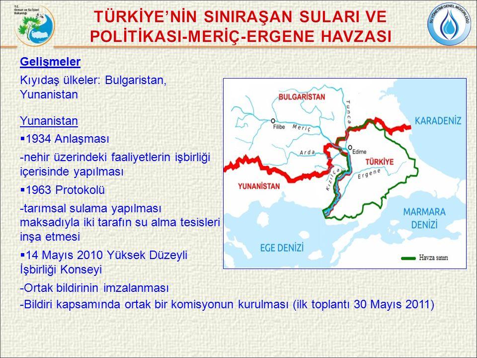 Gelişmeler Kıyıdaş ülkeler: Bulgaristan, Yunanistan Yunanistan  1934 Anlaşması -nehir üzerindeki faaliyetlerin işbirliği içerisinde yapılması  1963 Protokolü -tarımsal sulama yapılması maksadıyla iki tarafın su alma tesisleri inşa etmesi  14 Mayıs 2010 Yüksek Düzeyli İşbirliği Konseyi -Ortak bildirinin imzalanması -Bildiri kapsamında ortak bir komisyonun kurulması (ilk toplantı 30 Mayıs 2011)