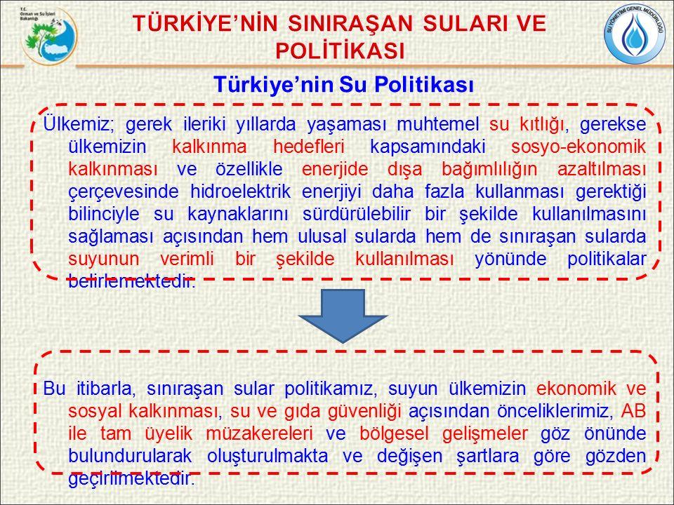 Türkiye'nin Su Politikası Ülkemiz; gerek ileriki yıllarda yaşaması muhtemel su kıtlığı, gerekse ülkemizin kalkınma hedefleri kapsamındaki sosyo-ekonomik kalkınması ve özellikle enerjide dışa bağımlılığın azaltılması çerçevesinde hidroelektrik enerjiyi daha fazla kullanması gerektiği bilinciyle su kaynaklarını sürdürülebilir bir şekilde kullanılmasını sağlaması açısından hem ulusal sularda hem de sınıraşan sularda suyunun verimli bir şekilde kullanılması yönünde politikalar belirlemektedir.