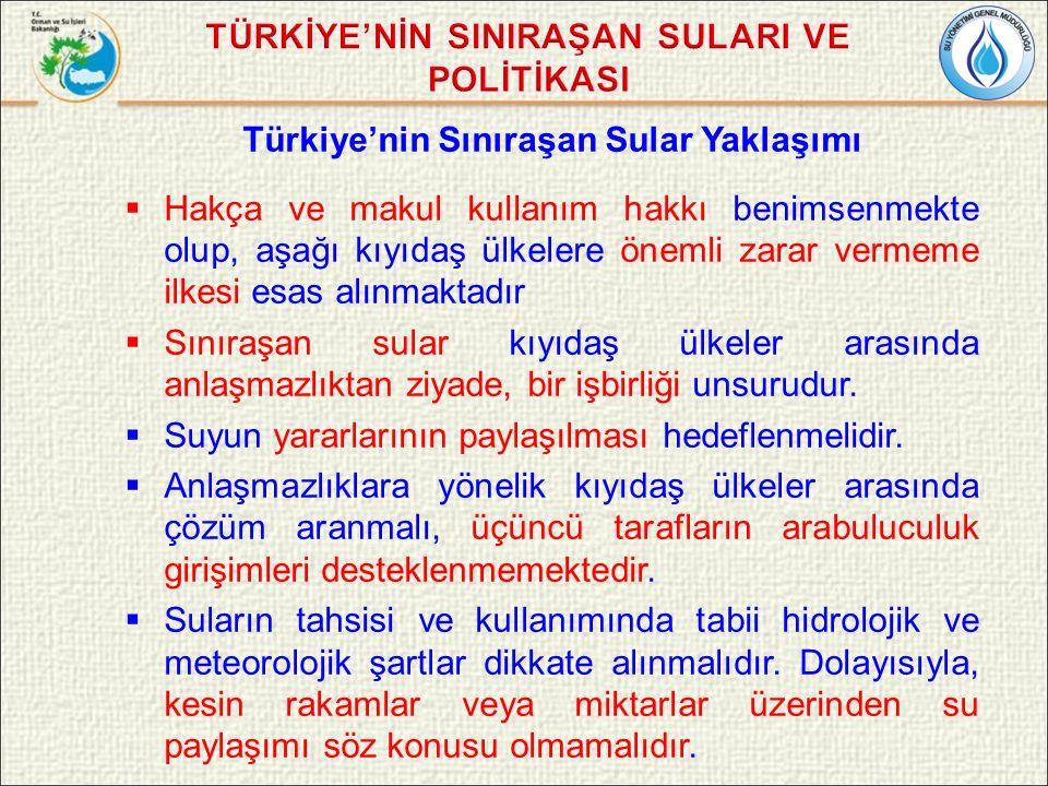 Türkiye'nin Sınıraşan Sular Yaklaşımı  Hakça ve makul kullanım hakkı benimsenmekte olup, aşağı kıyıdaş ülkelere önemli zarar vermeme ilkesi esas alınmaktadır  Sınıraşan sular kıyıdaş ülkeler arasında anlaşmazlıktan ziyade, bir işbirliği unsurudur.