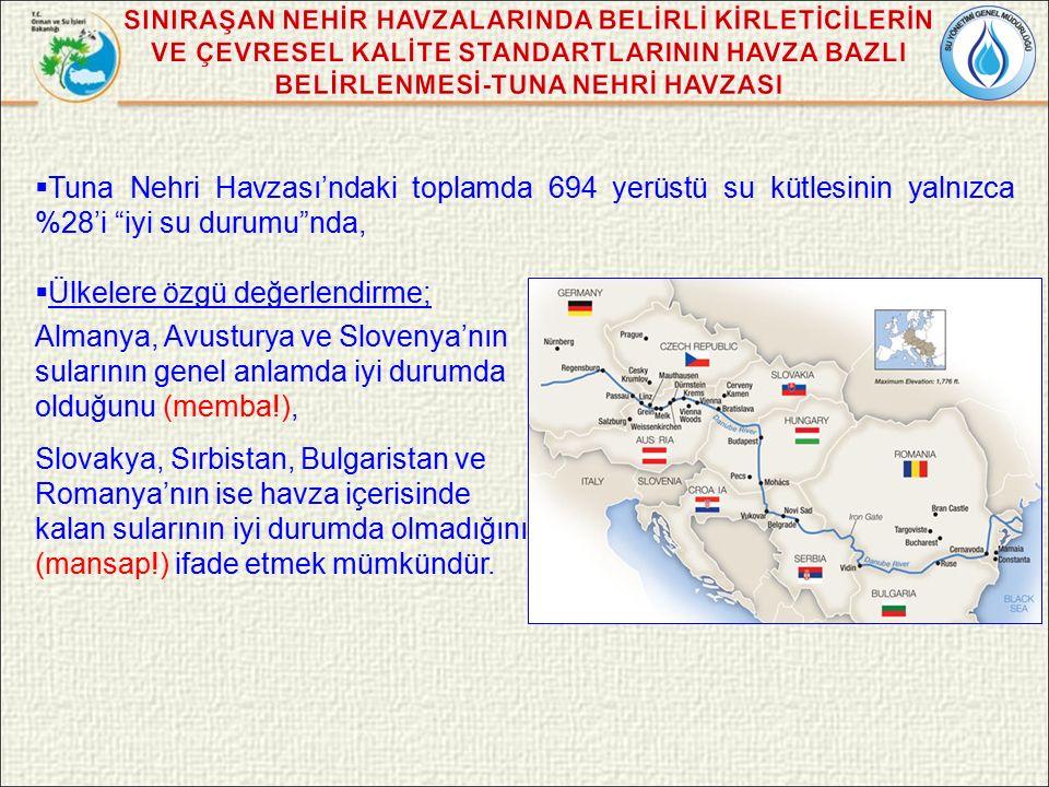  Tuna Nehri Havzası'ndaki toplamda 694 yerüstü su kütlesinin yalnızca %28'i iyi su durumu nda,  Ülkelere özgü değerlendirme; Almanya, Avusturya ve Slovenya'nın sularının genel anlamda iyi durumda olduğunu (memba!), Slovakya, Sırbistan, Bulgaristan ve Romanya'nın ise havza içerisinde kalan sularının iyi durumda olmadığını (mansap!) ifade etmek mümkündür.