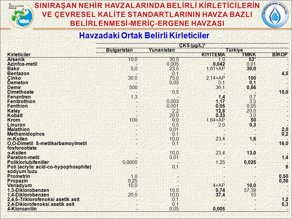 Havzadaki Ortak Belirli Kirleticiler ÇKS (µg/L) 1 Bulgaristan YunanistanTürkiye KirleticilerKIYITEMATMKK BİKOP Arsenik10,030,01,053*- Azinfos-metil-0,0050,0420,01- Bakır5,023,01,61+AP30,0- Bentazon-0,1--4,5 Çinko30,075,02,14+AP100- Demeton-0,050,1 - Demir500-36,10,56- Dimethoate-0,5--15,0 Fenantren1,3-1,40,7- Fenitrothion-0,0031,173,5- Fenthion-0,0010,05 - Kalay-2,212,820,0- Kobalt-20,00,333,0- Krom1009,01,64+AP50- Linuron-0,52,00,3- Malathion-0,01--2,0 Methamidophos -0,1--0,2 m-Ksilen-10,023,41,6- O,O-Dimetil S-metilkarbamoylmetil fosforootiate -0,1--16,0 o-Ksilen-10,023,413,0- Paration-metil-0,01 -- 1,4 Poliklorlubifeniller0,0005 - 1,250,025- Poli (acrylic acid-co-hypophosphite) sodyum tuzu -0,1--6 Prometrin1,0 - --0,50 Propazin0,25 - --0,30 Vanadyum10,0 - 4+AP10,0- 1,3-Diklorobenzen-10,00,7457,39- 1,4-Diklorobenzen20,010,037,410- 2,4,5-Triklorofenoksi asetik asit -0,1--1,2 2,4-Diklorofenoksi asetik asit -0,1--5,3 4-Kloroanilin-0,050,005--