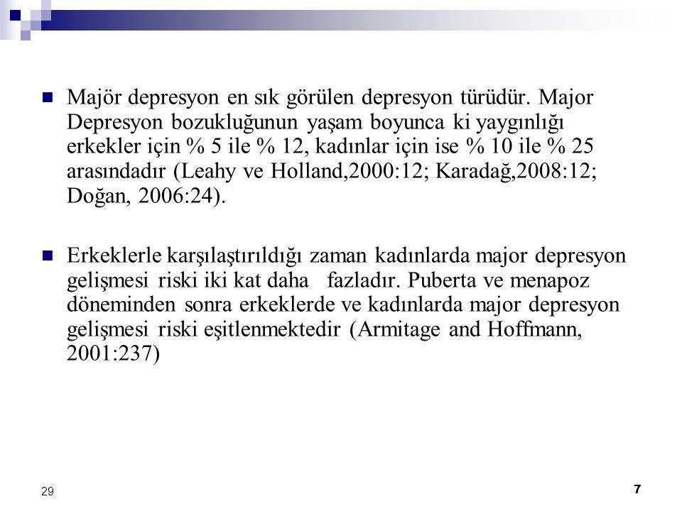7 29 Majör depresyon en sık görülen depresyon türüdür. Major Depresyon bozukluğunun yaşam boyunca ki yaygınlığı erkekler için % 5 ile % 12, kadınlar i