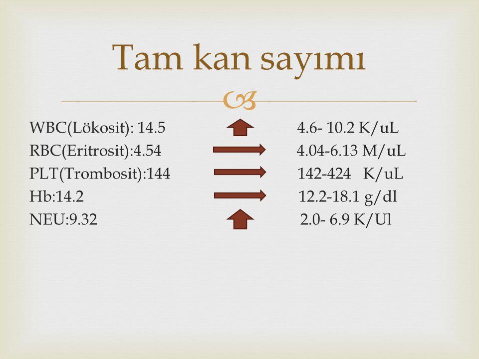  WBC(Lökosit): 14.5 4.6- 10.2 K/uL RBC(Eritrosit):4.54 4.04-6.13 M/uL PLT(Trombosit):144 142-424 K/uL Hb:14.2 12.2-18.1 g/dl NEU:9.32 2.0- 6.9 K/Ul Tam kan sayımı