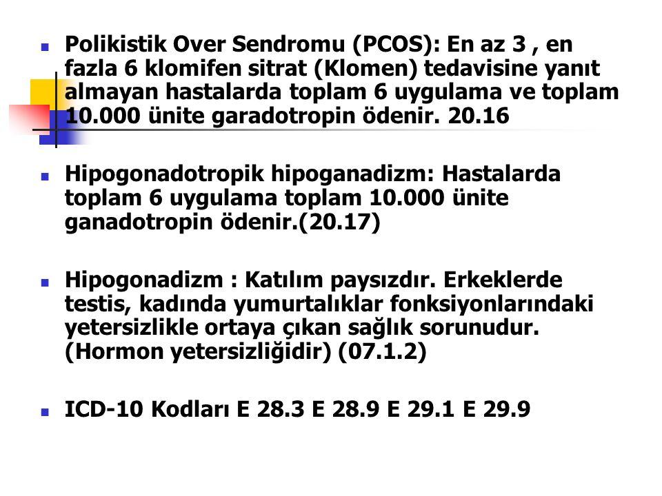 Polikistik Over Sendromu (PCOS): En az 3, en fazla 6 klomifen sitrat (Klomen) tedavisine yanıt almayan hastalarda toplam 6 uygulama ve toplam 10.000 ünite garadotropin ödenir.