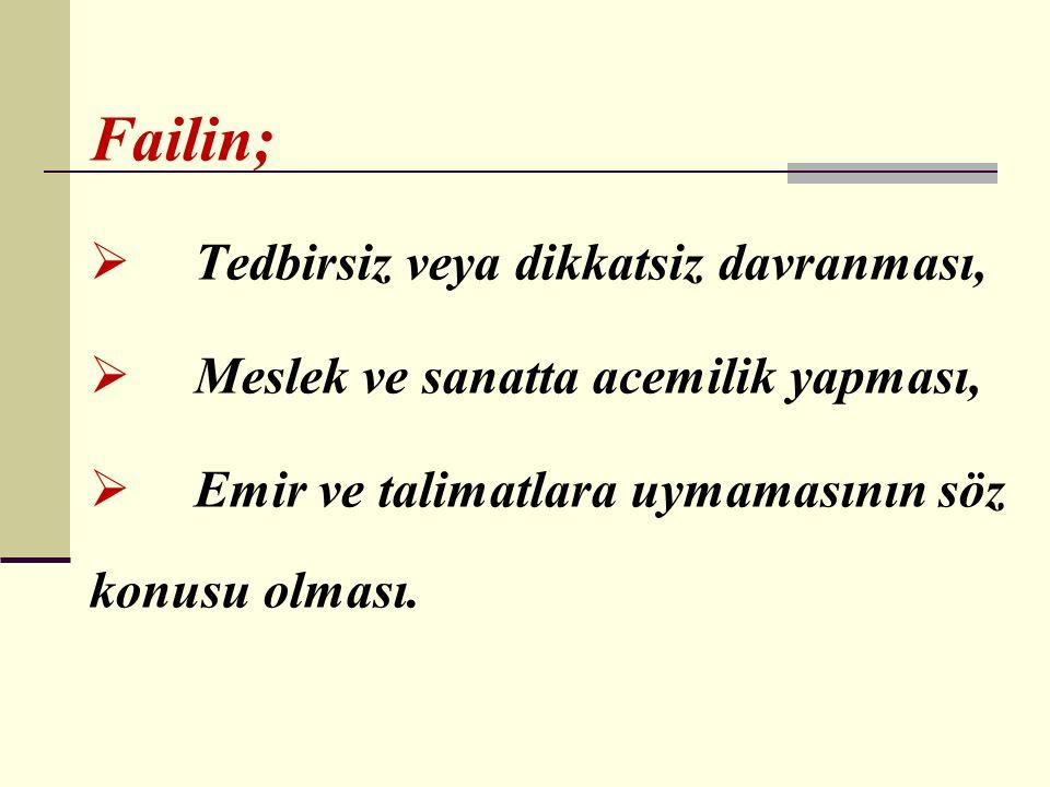 Türk Ceza Kanununun 455 inci maddesine göre bir iş kazasında kusurlu olunabilmesi için; ۩ İcrai veya ihmali bir eylemin varlığı, ۩ İşçi-işveren-kaza olayı arasındaki illiyet bağı unsurlarının mevcut bulunması gerekmektedir