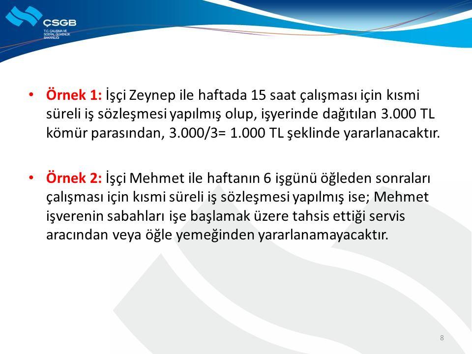 Örnek 1: İşçi Zeynep ile haftada 15 saat çalışması için kısmi süreli iş sözleşmesi yapılmış olup, işyerinde dağıtılan 3.000 TL kömür parasından, 3.000/3= 1.000 TL şeklinde yararlanacaktır.