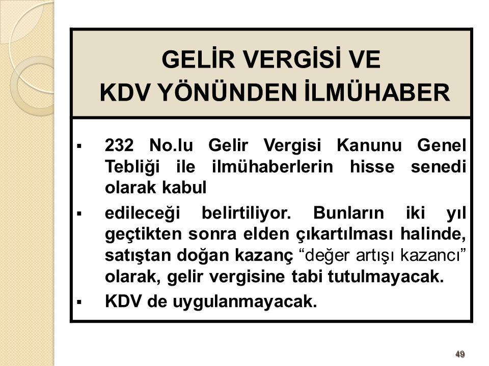 4949 GELİR VERGİSİ VE KDV YÖNÜNDEN İLMÜHABER  232 No.lu Gelir Vergisi Kanunu Genel Tebliği ile ilmühaberlerin hisse senedi olarak kabul  edileceği belirtiliyor.