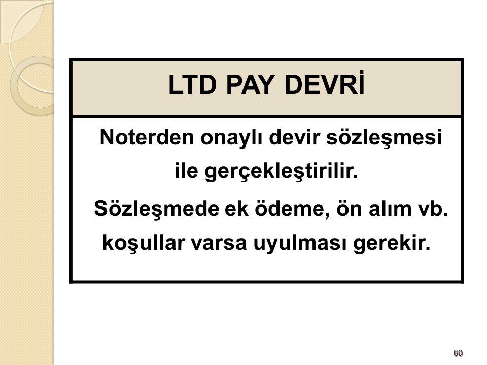 6060 LTD PAY DEVRİ Noterden onaylı devir sözleşmesi ile gerçekleştirilir.