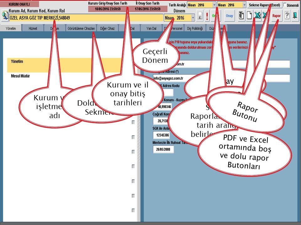 Kurum veya işletmenin adı Veri Doldurulacak Sekmeler Geçerli Dönem Onay Butonları Kurum ve il onay bitiş tarihleri Sekme Raporlama için tarih aralığı belirleme alanı Sekme Raporu Butonu PDF ve Excel ortamında boş ve dolu rapor Butonları Rapor Butonu