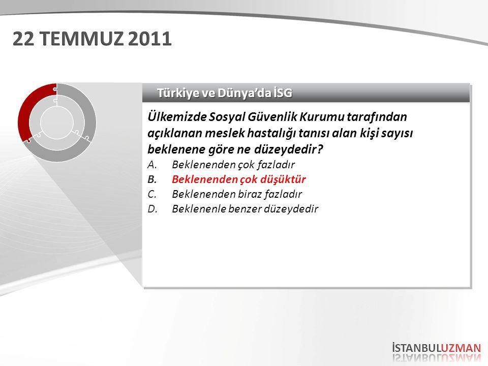 Türkiye ve Dünya'da İSG Ülkemizde Sosyal Güvenlik Kurumu tarafından açıklanan meslek hastalığı tanısı alan kişi sayısı beklenene göre ne düzeydedir.