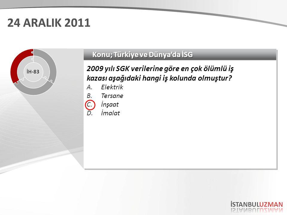 Konu; Türkiye ve Dünya'da İSG 2009 yılı SGK verilerine göre en çok ölümlü iş kazası aşağıdaki hangi iş kolunda olmuştur? A.Elektrik B.Tersane C.İnşaat