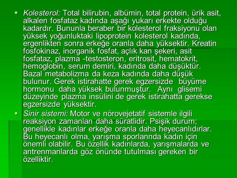  Kolesterol: Total bilirubin, albümin, total protein, ürik asit, alkalen fosfataz kadında aşağı yukarı erkekte olduğu kadardır.
