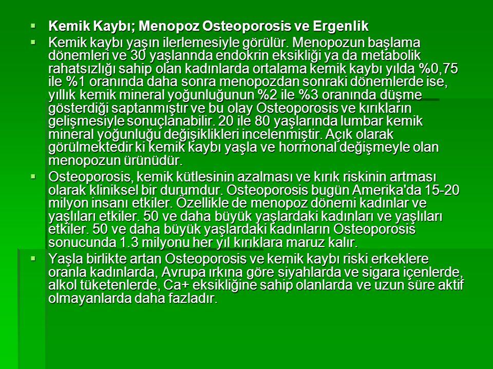  Kemik Kaybı; Menopoz Osteoporosis ve Ergenlik  Kemik kaybı yaşın ilerlemesiyle görülür. Menopozun başlama dönemleri ve 30 yaşlannda endokrin eksikl