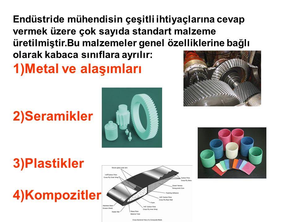 Endüstride mühendisin çeşitli ihtiyaçlarına cevap vermek üzere çok sayıda standart malzeme üretilmiştir.Bu malzemeler genel özelliklerine bağlı olarak kabaca sınıflara ayrılır: 1)Metal ve alaşımları 2)Seramikler 3)Plastikler 4)Kompozitler