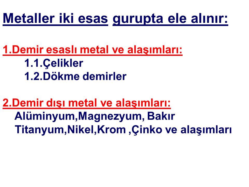 Metaller iki esas gurupta ele alınır: 1.Demir esaslı metal ve alaşımları: 1.1.Çelikler 1.2.Dökme demirler 2.Demir dışı metal ve alaşımları: Alüminyum,Magnezyum, Bakır Titanyum,Nikel,Krom,Çinko ve alaşımları