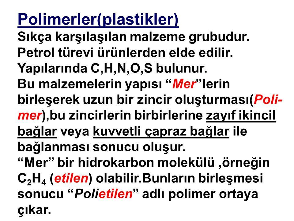 Polimerler(plastikler) Sıkça karşılaşılan malzeme grubudur.